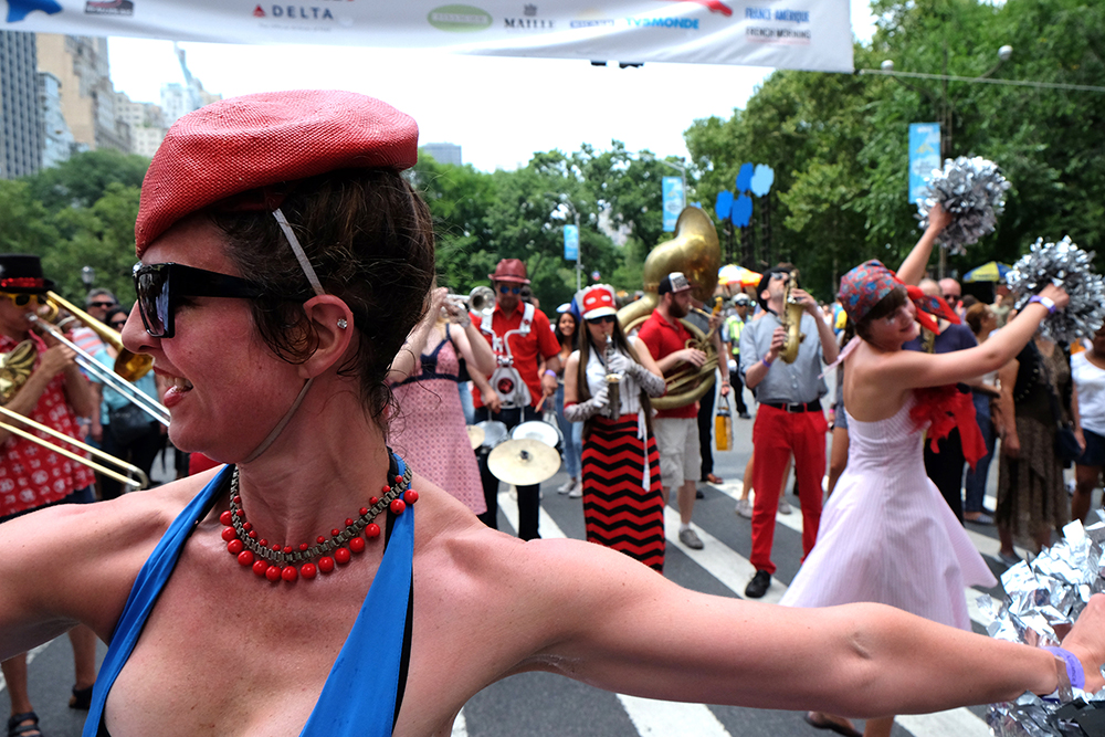 The Hungry March Band on 60th Street in NYC celebrating Bastille Day