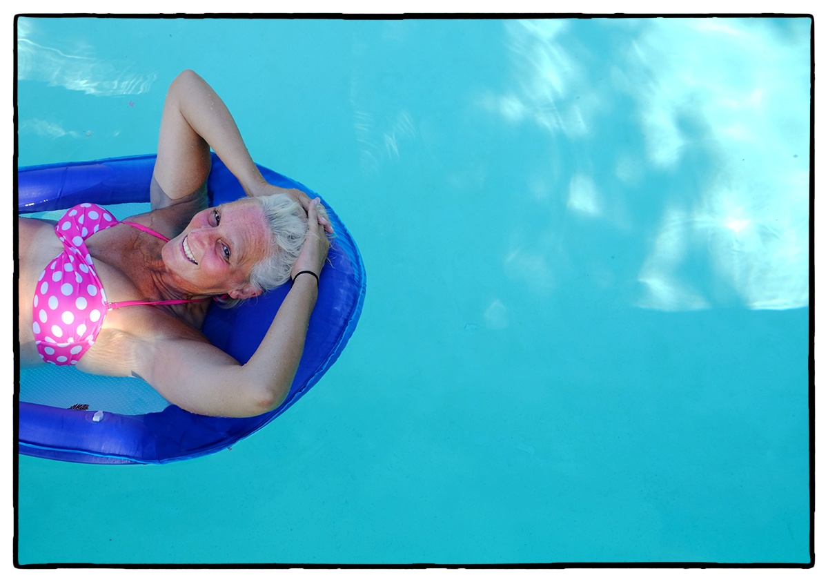 Photo of my sister-in-law in her pool in CA