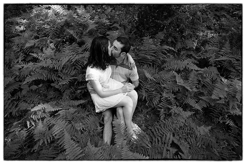 A nice moment in the cool shade of the forest for this couple's engagement photo session in New Jersey.